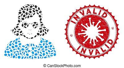 Mosaic Blind Woman Icon with Coronavirus Textured Invalid ...