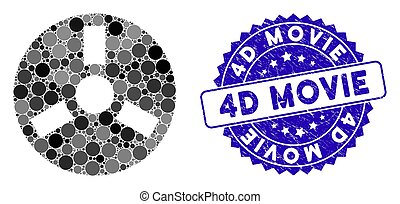 Mosaic Bobbin Icon with Grunge 4D Movie Seal