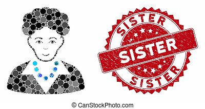 Mosaic Brunette Woman with Distress Sister Stamp