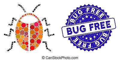 Mosaic Bug Icon with Grunge Bug Free Seal