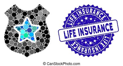 Mosaic Bulletproof Vest Icon with Textured Life Insurance Stamp