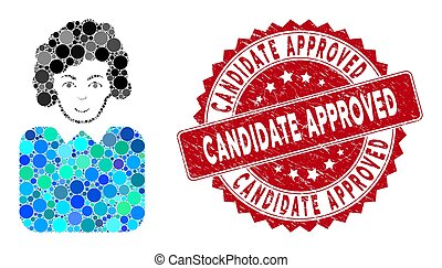 Mosaic Bureaucrat Lady with Scratched Candidate Approved Seal