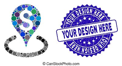 Mosaic Business Geotargeting Icon with Grunge Your Design ...