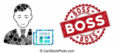 Mosaic Businessman News with Scratched Boss Stamp