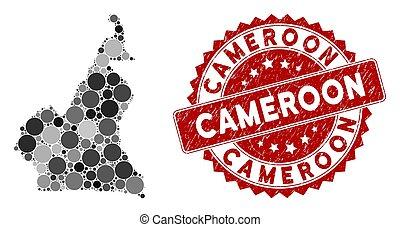 Mosaic Cameroon Map and Grunge Circle Watermark