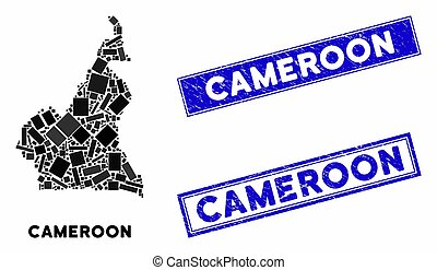 Mosaic Cameroon Map and Scratched Rectangle Seals