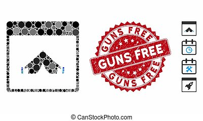 Mosaic Camping Calendar Page Icon with Textured Guns Free Seal