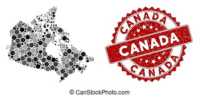 Mosaic Canada Map and Scratched Round Stamp