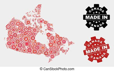 Mosaic Canada Map of Gearwheel Elements and Grunge Stamp