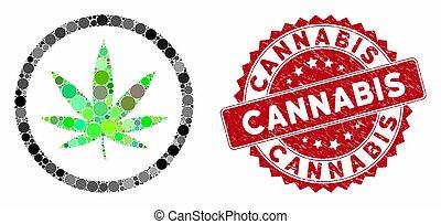 Mosaic Cannabis with Textured Cannabis Stamp