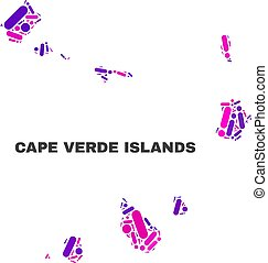 Mosaic Cape Verde Islands Map of Dots and Lines