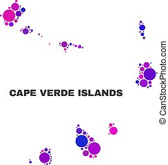 Mosaic Cape Verde Islands Map of Round Items
