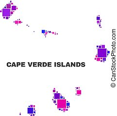 Mosaic Cape Verde Islands Map of Square Items