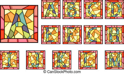 Mosaic capital letters alphabet. - Set of mosaic alphabet ...