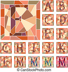 Mosaic capital letters alphabet. - Set of mosaic alphabet...