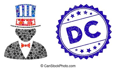 Mosaic Capitalist Icon with Scratched DC Stamp