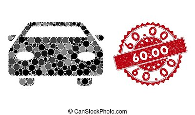 Mosaic Car with Textured 60.00 Seal