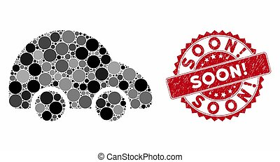 Mosaic Car with Textured Soon! Stamp