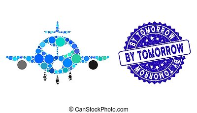 Mosaic Cargo Aircraft Icon with Scratched By Tomorrow Stamp