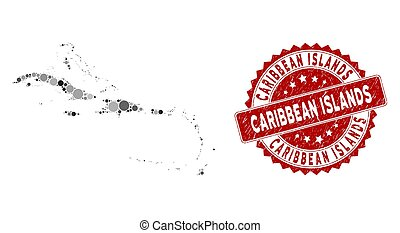 Mosaic Caribbean Islands Map and Grunge Circle Watermark