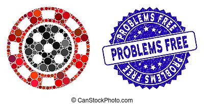 Mosaic Casino Chip Icon with Grunge Problems Free Stamp
