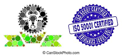 Mosaic Cattle Award Ribbon Icon with Textured ISO 50001 Certified Stamp