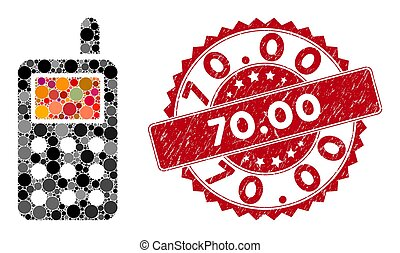Mosaic Cell Phone with Grunge 70.00 Stamp