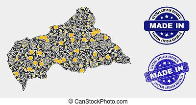 Mosaic Central African Republic Map of Technology Elements and Made In Grunge Seal