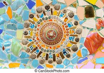 Mosaic ceramic abstract wall in Wat Phasornkaew Thai temple....