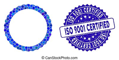 Mosaic Certificate Rosette Circular Frame Icon with Textured ISO 9001 Certified Seal