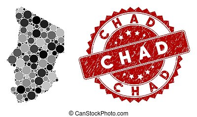 Mosaic Chad Map and Distress Round Stamp Seal