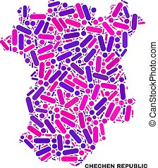 Mosaic Chechen Republic Map of Dots and Lines - Mosaic...