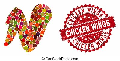 Mosaic Chicken Wing with Distress Chicken Wings Seal