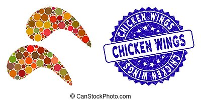 Mosaic Chicken Wings Icon with Scratched Chicken Wings Stamp