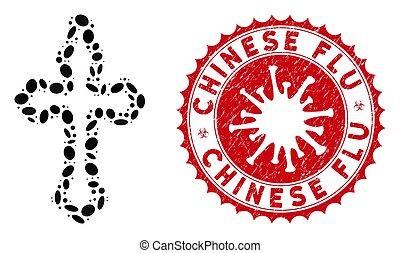 Mosaic Christian Cross Icon with Coronavirus Textured Chinese Flu Stamp