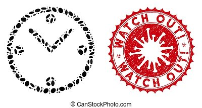 Mosaic clock icon and red round corroded stamp seal with Watch Out! text and coronavirus symbol. Mosaic vector is composed from clock icon and with randomized elliptic items.