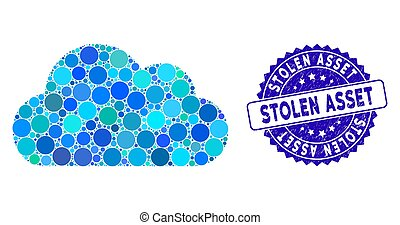 Mosaic Cloud Icon with Distress Stolen Asset Stamp
