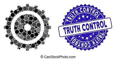 Mosaic Cog Wheel Icon with Scratched Truth Control Stamp
