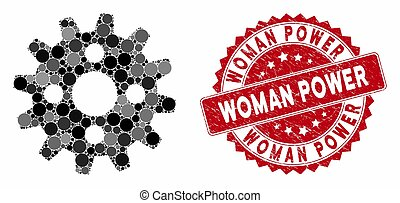 Mosaic Cogwheel with Distress Woman Power Stamp