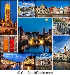 Mosaic collage storyboard of Belgium images