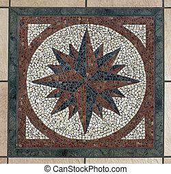 Mosaic compass - Decorative mosaic compass symbol pattern