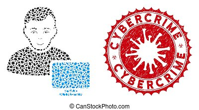 Mosaic Computer Administrator Icon with Coronavirus Scratched Cybercrime Stamp