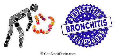 Mosaic Cough Icon with Distress Bronchitis Stamp