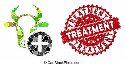 Mosaic cow add and corroded stamp watermark with Treatment caption. Mosaic vector is formed with cow add icon and with scattered circle items. Treatment stamp seal uses red color, and rubber design.