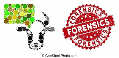Collage cow opinion and distressed stamp seal with Forensics text. Mosaic vector is formed with cow opinion icon and with random spheric elements. Forensics stamp seal uses red color,