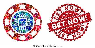 Mosaic CPU Casino Chip with Grunge Bet Now! Stamp