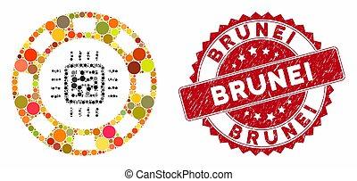 Mosaic CPU Casino Chip with Textured Brunei Seal