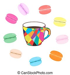 Mosaic cup of coffee with colored macaroons on white background
