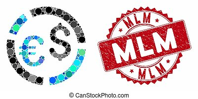 Mosaic Currency Diagram with Grunge Mlm Stamp