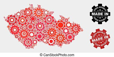 Mosaic Czech Republic Map of Cogwheel Items and Grunge Stamp